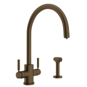 English Bronze Perrin & Rowe Holborn Filtration 2-Lever Kitchen Faucet With Sidespray with Modern Lux Metal Lever