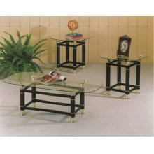 BLACK COFFEE & END TABLE GLASS TOP