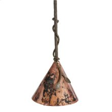 Leaf Pendant Iron Lamp with Copper Shade 12 Inch