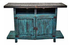 Turquoise Scraped TV Stand