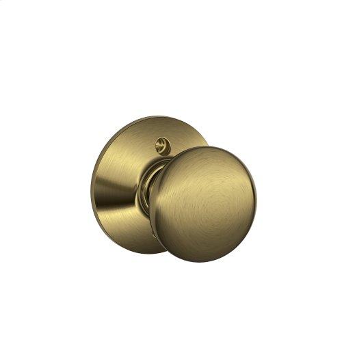 Plymouth Knob Non-turning Lock - Antique Brass