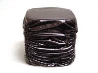Grey Faux Leather Stool-15.75x15.75x16.16 Product Image