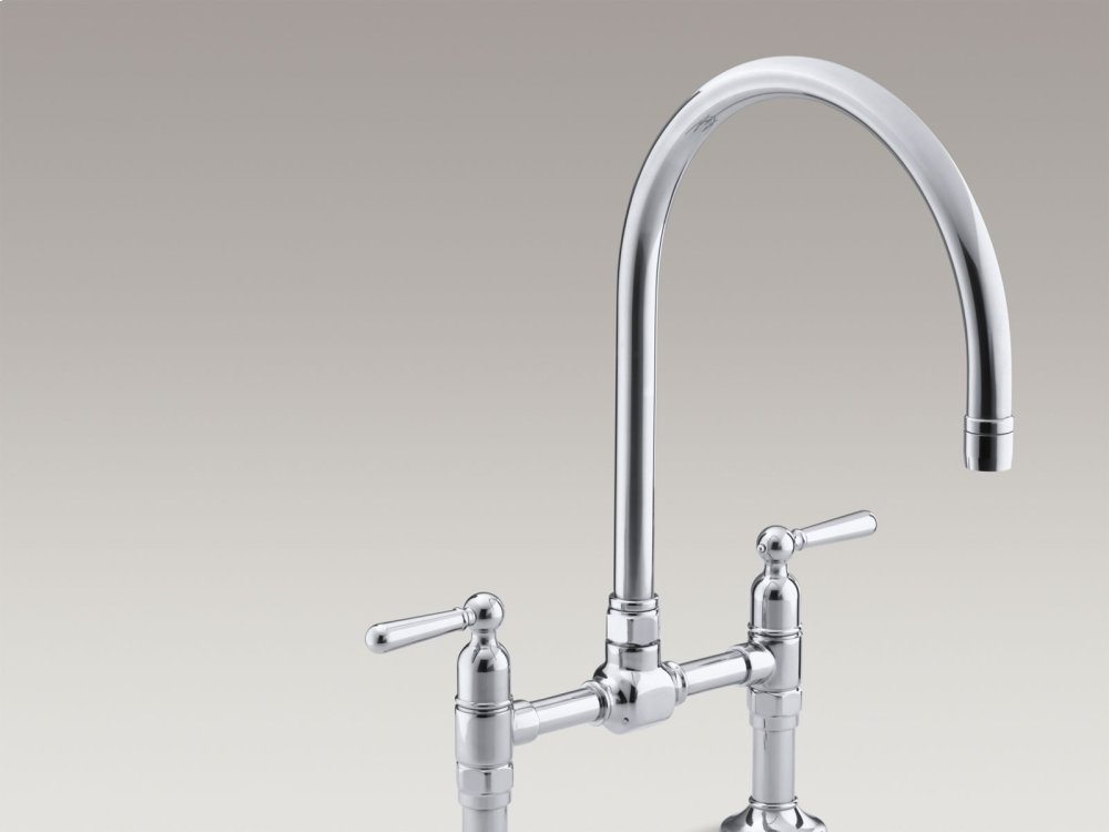 Polished Stainless Two Hole Deck Mount Bridge Kitchen Sink Faucet With 10 1