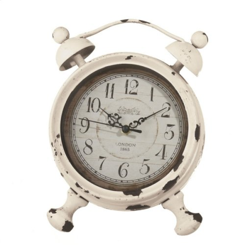 Small Distressed Ivory Alarm Desk Clock.
