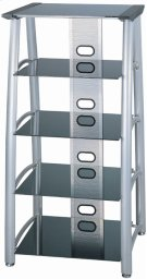 "5-tier TV Tower, Silver Chrome/black Glass, 28""lx24""wx54""h Product Image"