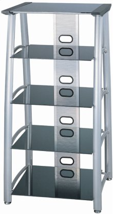 "5-tier TV Tower, Silver Chrome/black Glass, 28""lx24""wx54""h"