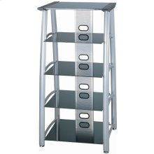 """5-tier TV Tower, Silver Chrome/black Glass, 28""""lx24""""wx54""""h"""