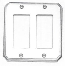 Double Rocker Traditional Switchplate - Solid Brass in SB (Shaded Bronze, Lacquered)