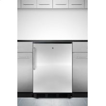 Commercially Approved Solid Door Wine Cellar for Built-in Use, With Front Lock, Stainless Steel Door, Towel Bar Handle and Black Cabinet
