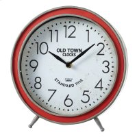 """Round Red """"Old Town Clocks"""" Desk Clock. Product Image"""