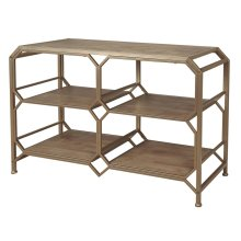 Bronze/wood 3-tier Console Table, Kd