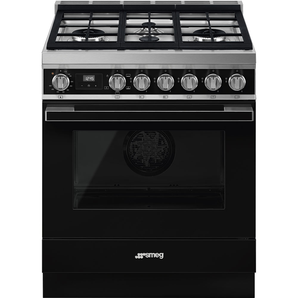 """SmegPortofino Pro-Style All-Gas Range, Black, 30"""" X 25"""""""