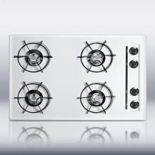 """30"""" wide cooktop in white, with four burners and gas spark ignition"""