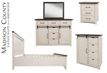 Madison County 4 PC King Panel Bedroom: Bed, Dresser, Mirror, Nightstand - Vintage White
