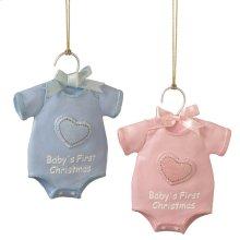 """Baby's First Christmas"" Onesie Ornament (2 asstd)."