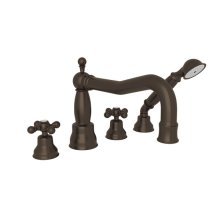 Tuscan Brass Arcana Column Spout 4-Hole Deck Mount Tub Filler With Handshower with Arcana Series Only Cross Handle