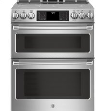"""GE Cafe™ Series 30"""" Slide-In Front Control Induction and Convection Double Oven Range"""