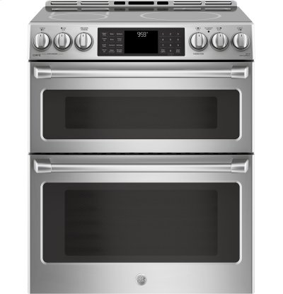 "GE Cafe™ Series 30"" Slide-In Front Control Induction and Convection Double Oven Range Product Image"