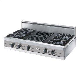 "Metallic Silver 42"" Open Burner Rangetop - VGRT (42"" wide, four burners 12"" wide char-grill)"