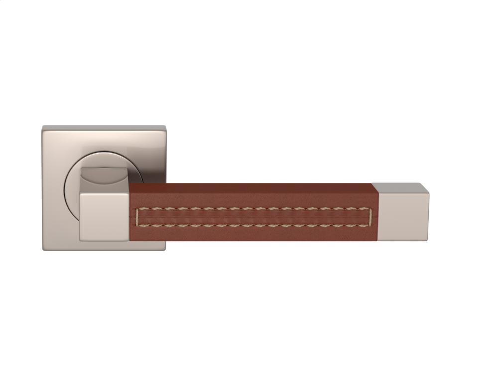 Additional Square Stitch Out Recess Leather In Chestnut And Satin Nickel