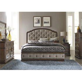 Queen Uph Bed, Dresser & Mirror, Nitestand