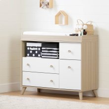 Changing Table with Drawers and Open Storage - Soft Elm and Pure White