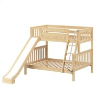 Twin/Full (Low/Med) Bunk w/ Angle Ladder & Slide : Twin/Full : Natural : Slat