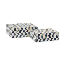 Essentials Marine Blue Bone Boxes - Set of 2