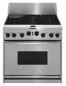 "36"" Width 6 Burners Porcelain-on-Steel Cooktop True Convection Oven Dual Fuel Freestanding or Slide-In Range"