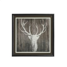 Sophisticated Deer Textured Print Custom Framed