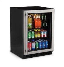 """24"""" Beverage Center - Stainless Frame Glass Door - Left Hinge"""