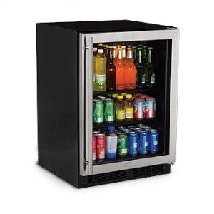 """Marvel24"""" Beverage Center - Stainless Frame Glass Door - Left Hinge"""