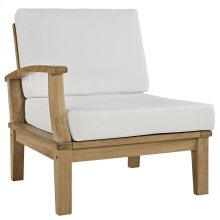 Marina Outdoor Patio Premium Grade A Teak Wood Right-Facing Sofa in Natural White