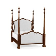 US Queen Four Poster Mahogany Bed, Upholstered in COM