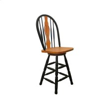 """DLU-B124-24-BCH  24"""" Keyhole Barstool  Antique Black with Cherry Accents"""