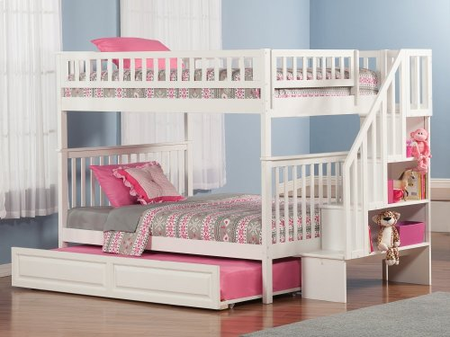 Woodland Staircase Bunk Bed Full over Full with Raised Panel Trundle Bed in White