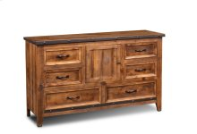 HH-4365 Bedroom  Dresser  6 Drawers  Door  Industrial Metal Accents