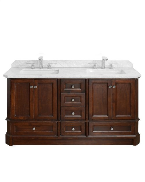 Espresso RICHMOND 60-in Double-Basin Vanity Cabinet with Crema Marble Stone Top and Karo 18x12 Sink