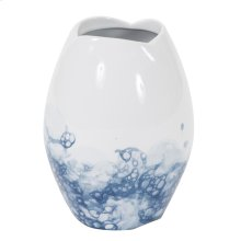 Blue and White Porcelain Scalloped Vase, Small