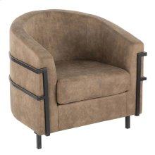 Colby Tub Chair - Black Metal, Brown Cowboy Fabric