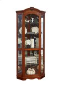 Arched Medallion Cherry Mirrored Corner Curio Product Image