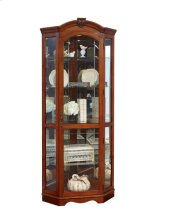 Arched Medallion Cherry Mirrored Corner Curio