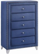 "Caroline Navy Velvet Chest - 40"" W x 18"" D x 50"" H Product Image"