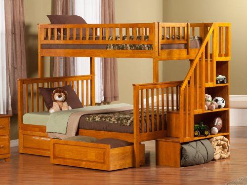 Woodland Staircase Bunk Bed Twin over Full with Raised Panel Bed Drawers in Caramel Latte
