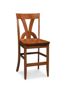 Adeline II Stationary Barstool, Wood Seat