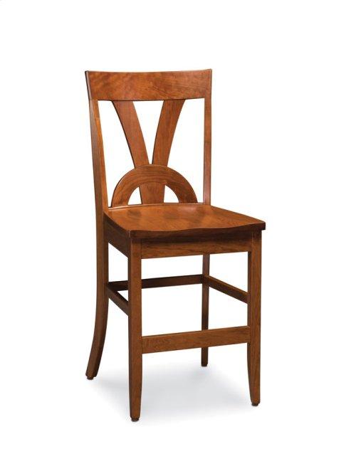 Adeline II Stationary Barstool, Wood Seat