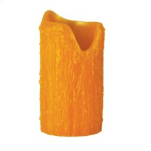 """4""""W X 8""""H Poly Resin Honey Amber Uneven Top Candle Cover"""