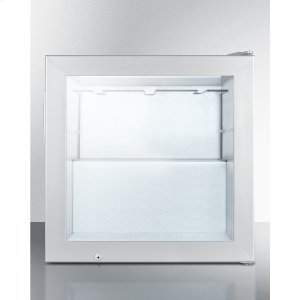 SummitCompact Commercial Vodka Chiller With Self-closing Glass Door and Stainless Steel Wrapped Cabinet