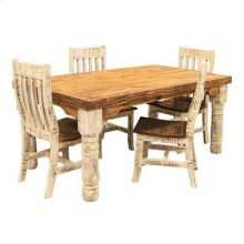"""Table : 72"""" x 40"""" x 31"""" White Table and Chairs"""