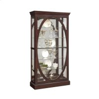 Oval-Framed Sliding 5 Shelf Curio Cabinet in Sable Brown Product Image